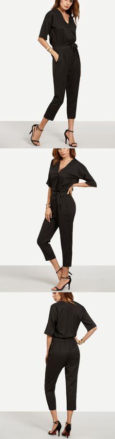 Summer Fashion & Office Look - Black Surplice Front Self Tie Jumpsuit with pretty black heels