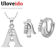 Find More Jewelry Sets Information about Fashion Letter A B C D E F G H I J K L M N O P Q R S T U V W X Y Z Necklace Pendent Stud Earrings Jewelry Set Simulated Diamond,High Quality diamond monroe piercing jewelry,China jewelry settings and mountings Suppliers, Cheap diamond jewelry co from ULOVE Fashion Jewelry on Aliexpress.com