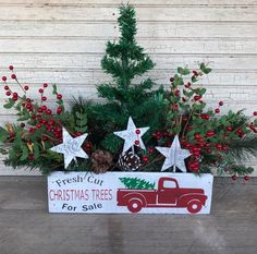 Items similar to Vintage Red Truck Farmhouse Christmas Style Crate, Table Centerpiece, Mason Jar Crate, Christmas Card Holder, Little Red Truck on Etsy Elf Christmas Decorations, Fresh Christmas Trees, Dollar Tree Christmas, Christmas Swags, Christmas Truck, Christmas Wood, Primitive Christmas, Christmas Centerpieces, Vintage Christmas