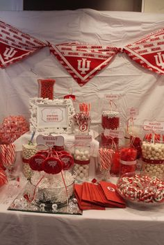 Graduation party candy bar...really cute to represent the colors of the graduate's future school!