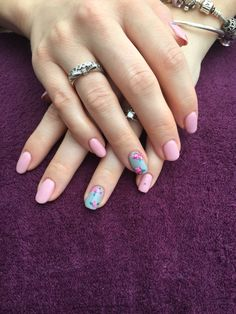 Custom pink and grey calgel nails with Cath Kidston inspired flowers