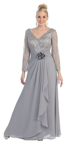 This elegant dress has long sheer sleeves with a lace pattern of them. The neckline is a V shape along with the back The bust is also the lace design. The waist