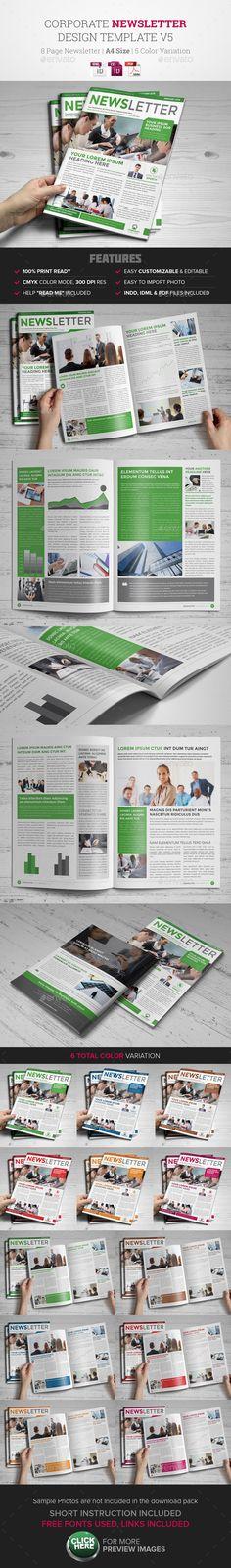 Newsletter Indesign Template v5  - Newsletters Print Templates