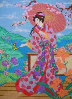 cuadro arena geisha arena colores dibujo con arena