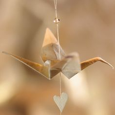 Natural Crane love heart  hanging origami decoration £7