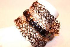 Freshwater Pearl wire Crochet Bracelet/ Ankle cuff by buoyantearth