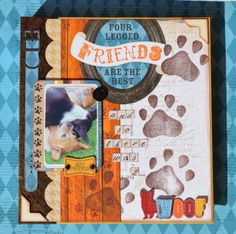 Denise van Deventer created this fun Misc. Me book about her new furry friend that joined there family using the new Happy Tails collection. Love those paw prints! #BoBunny, @Denise H. van Deventer