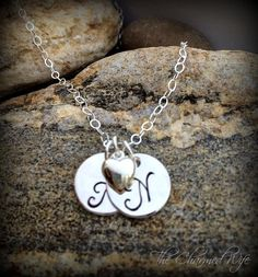 Initial Disc Hand Stamped Necklace  Valentine's by thecharmedwife