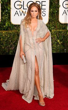 Jennifer Lopez Flaunts Lots of Cleavage, Leg and Everything Else in Super Sexy Golden Globes Gown?Take a Look! | E! Online Mobile