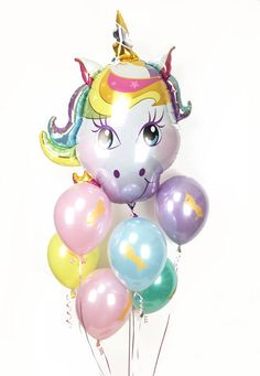 "Unicorn Balloon Bouquet - Giant 38"" Unicorn Mylar with 6 Custom Colored Unicorn Latex Balloons - Gold Unicorn Balloons"