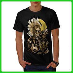 Nature Wolf Spirit Skull Men S T-shirt | Wellcoda - Animal shirts (*Amazon Partner-Link)