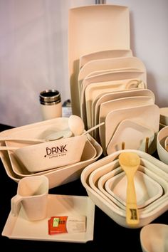 Bamboo Studio's eco-friendly dinnerware.  For a sustainable option, Bamboo Studio offers three product lines—two of which use parts of a bamboo plant and one that uses leaves from a palm tree. The result is dinnerware that is all-natural, disposable, and 100-percent biodegradable. The company's plates, bowls, utensils, and other tabletop items have a clean, natural look, and custom branding can be created for corporate events, weddings, and more. The Arlington, Texas-based company ships…