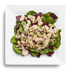 Take canned tuna to new heights by adding cannellini beans, red onion and dill, tossing it in a lemon-pepper-Dijon dressing and serving it over a spinach salad with canned beets. Heart Healthy Recipes, Healthy Salad Recipes, Healthy Chicken Recipes, Lunch Recipes, Alkaline Recipes, Health Recipes, Detox Recipes, Diabetic Recipes, Fish Recipes