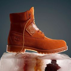 """""""A seasonal twist to our Icon. A monochrome look and translucent """"ice"""" bottom.The Autumn Mashup Rust Boot Timberland Limited Release"""""""