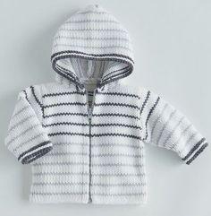 Pour un style sportwear tricotez pour bébé ce paletot à capuche et rayures. Un modèle composé en majorité de matière naturelle (60% coton), fermeture zippée, facile à tricoter.Modèle tricot n°10 du catalogue 85 Layette Bébé.
