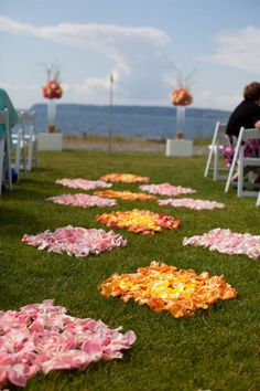 create a checkered aisle with flower petals for your wedding ceremony. They will mix and spread out as the wedding party processes down. Outdoor Wedding Decorations, Ceremony Decorations, Outdoor Weddings, Rustic Weddings, Beach Weddings, Outdoor Ceremony, Wedding Ceremony, Party Outdoor, Reception