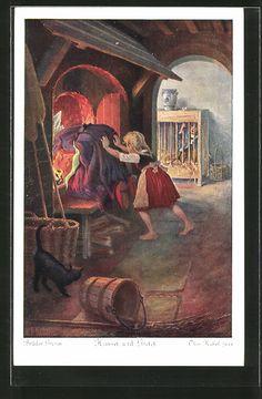 Künstler-AK Otto Kubel: Brüder Grimm, Hänsel und Gretel, 5. Die Hexe aber…