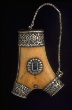 Tibetan Snuff Bottle: Bone and Silver Repousse', ca. 1700-1900, Tibet
