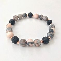 Excited to share the latest addition to my #etsy shop: Essential Oil Diffuser Bracelet, Lava Bead Aromatherapy Bracelet, Pink Gemstone Beaded Bracelet, Yoga Bracelet #Aromatherapy