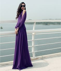 This Dreamy Style 2014 Dress Solid Color Long Sleeve Purple Dress Chiffon Elegant Maxi Dress comes in chic design, they will bring you something different feeling when you wear them in this season!