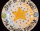 Hand Painted Star of the Day Special Day Family Plate