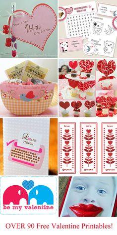 Over 90 free Valentine printables.