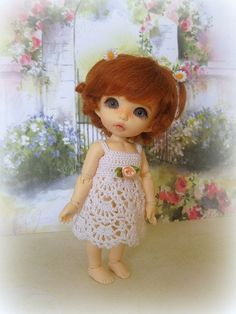 Dress for a doll BJD Lati Yellow crocheted PukiFee