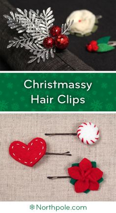 DIY Christmassy Hair Clips • Northpole.com Craft Cottage