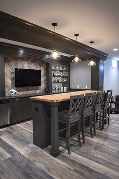 Basement Bar Plans, Basement Bar Designs, Home Bar Designs, Basement Remodeling, Basement Ideas, Basement Living Rooms, Basement House, Diy Home Bar, Bars For Home