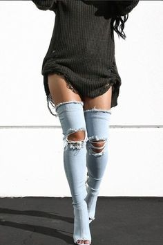 Boots by Ego Official OTK boots, thigh high boots, denim shoes, jean boots, distressed thigh high boots outfit 2017 Ripped Jeans Outfit, Jeans And Boots, Thigh High Denim Boots, Thigh High Boots Outfit, Jeans Shoes, Jean Outfits, Fashion Outfits, Womens Fashion, Fashion Trends