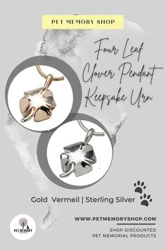 The four-leaf clover design has a high polish finish and can be filled through a screw on the back. This pendant is not able to be engraved. Pet Memorial Jewelry, Keepsake Urns, Four Leaves, Cremation Urns, Pet Loss, Four Leaf Clover, Pet Memorials, Pet Gifts, Place Card Holders