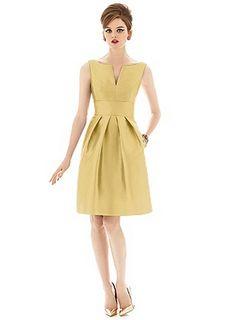 Antiqued yellow bridesmaids dress