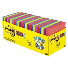 Post-it® Super Sticky Notes - Assorted (24 Pads Per Box)