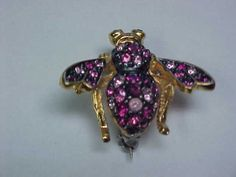 Joan Rivers Bee Pin Brooch with Rose and Crystal Stones | eBay