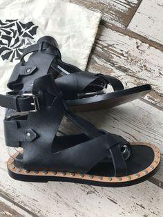 3a8f06173ab7 ISABEL MARANT Black Leather Gladiator Studded Sandals UK 5 39 RRP 495   fashion