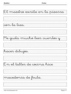 Fichas Caligrafía 54 Alphabet Writing Practice, Hand Lettering Practice, Writing Worksheets, Cursive Letters, Pre Writing, Letter Templates, Handwriting, Songs, Learning