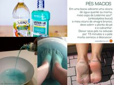 Easy peel of dry skin from feet: 1 cup of hot or warm water + cup of Listerine + cup of white vinegar. Soak your feet for 15 minutes and the dry skin starts to peel off. Beauty Care, Beauty Skin, Diy Beauty Hacks, Listerine Foot Soak, Foot Soak Vinegar, Foot Soak Recipe, Pedicure At Home, Tips Belleza, Beauty Recipe