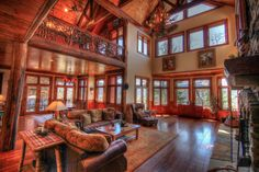Main Living Room - Open Floor Plan, Massive Vaulted Timber Frame