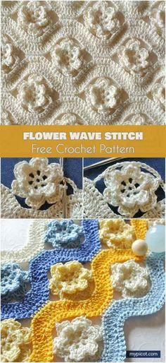 Flower Wave Stitch Free Pattern - Crochet and Knitting Patterns, Picot Crochet, Crochet Stitches Free, Bag Crochet, Crochet Motifs, Crochet Flower Patterns, Crochet Blanket Patterns, Crochet Crafts, Crochet Flowers, Crochet Baby