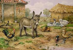 Donkey and Farmyard Fowl Painting by Carl Donner - Donkey and Farmyard Fowl Fine Art Prints and Posters for Sale