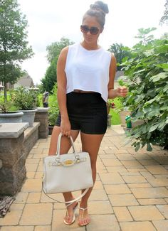 white crop top(target)  + black high waisted shorts (black shorts) and red LV bag (Sunday)