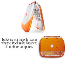 "Apple G3 iBook ""clamshell"" (1999-2001) - nicknamed ""Barbie's toilet seat"" due to its distinctive design, the original iBook is on exhibition at the London Design Museum and the Yale University Art Gallery."