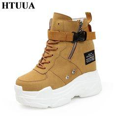 e88b48ab4ed1c8 New 2018 Autumn Winter Wedge Platform Shoes Women High Heels Increased  Internal Pumps