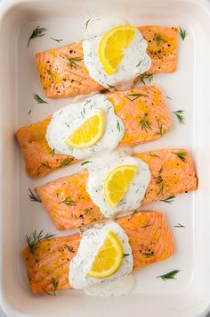 Baked Lemon Salmon with Creamy Dill Sauce - my whole family loved this salmon! So easy and delicious!