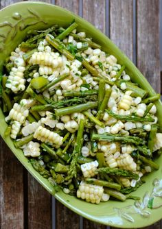 Asparagus and Corn Salad - 3 ears corn, 2 bunches asparagus.  Dressing is herbs, olive oil, lemon juice, honey, s Can be made 2 days in advance.