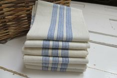 "Unused Art Deco Huck  Linen Towel Runner Blue Stripes Monogram HZ  19 /"" by 39 /"""
