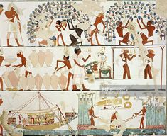 Ancient Egyptian Painting, by Nina M. Ancient Egyptian Food, Ancient Egyptian Paintings, Life In Ancient Egypt, Ancient Near East, Egyptian Art, Ancient Art, Ancient Greek, Africa Map, Futuristic Art