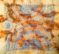 Michelle Ward's All New StencilGirl Designs Textile Fiber Art, Textile Artists, Boro Stitching, Hand Stitching, Textiles Sketchbook, Tea Bag Art, Creative Textiles, Textiles Techniques, Fabric Manipulation