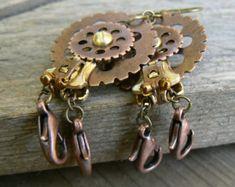 Steampunk Owl Zipper Earrings Gear Earrings by PeteAndVeronicas