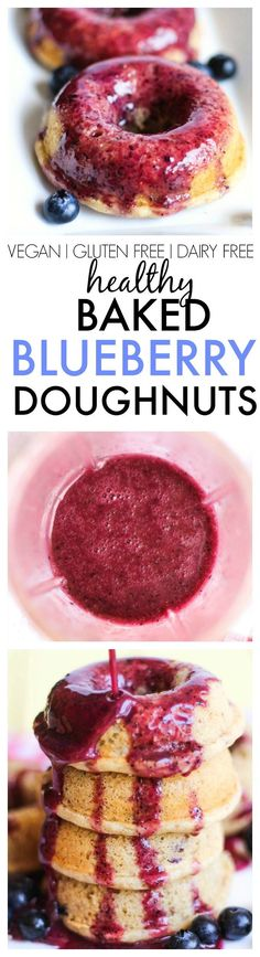 Healthy Baked Blueberry Doughnuts with a blueberry and orange glaze ...